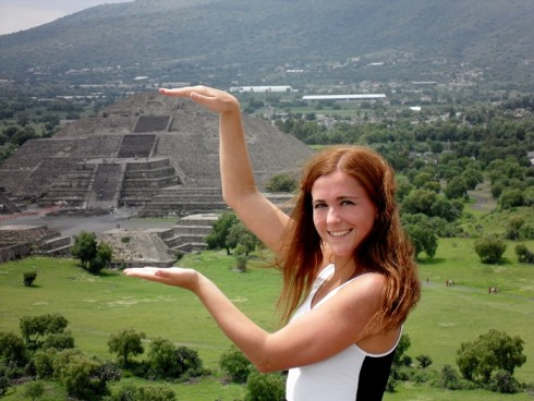 At the pyramids of Teotihuacan Mexico