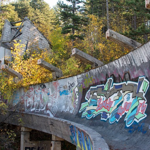 The abandoned bobsled track in Sarajevo