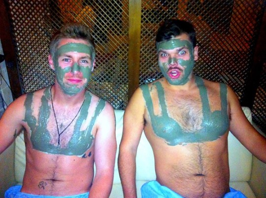Me and Jonny getting prepped for a turkish bath