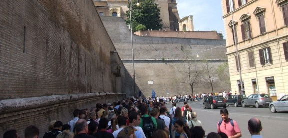 The line to get into Vatican City. Think double that