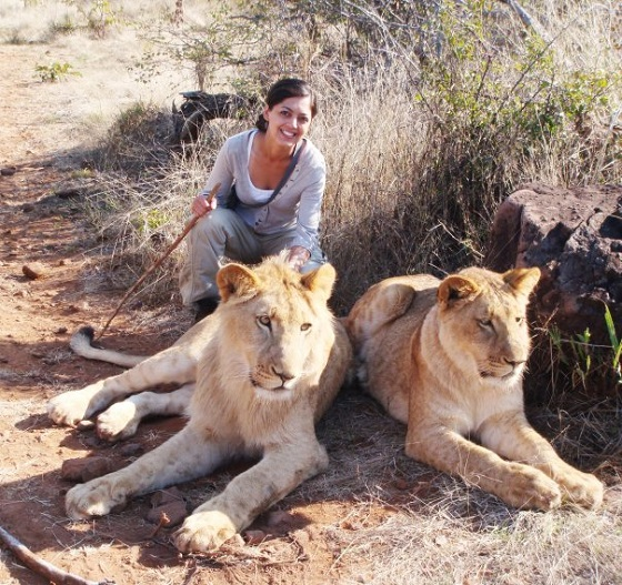 Asma Younus of Jet Set Chick working with lions in Africa