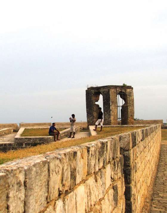 Jaffna Fort, commandeered for war till just a few years ago, now a quiet meeting place by the sea for the town's youth.