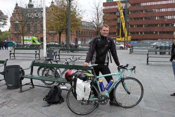 Ready to leave Copenhagen, Denmark on a cold October day in 2010 by Thomas Andersen of Cycling The Globe