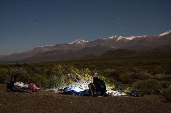 Setting up camp for the night in Argentina by Thomas Andersen of Cycling The Globe