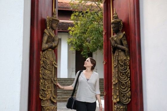 Admiring doors at the Dhara Dhevi Chiang Mai with Evanne Allen of Poplar Travels