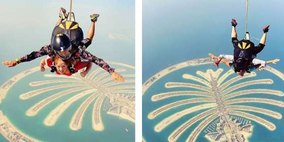 Sky-diving over the Palm in Dubai with Stephen and Jess Travel Bloggers from Flying The Nest