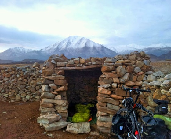 Thomas Boughton Tom Boughton Black Dog Bicycling Sleeping spot in Northern Iran near Tabriz