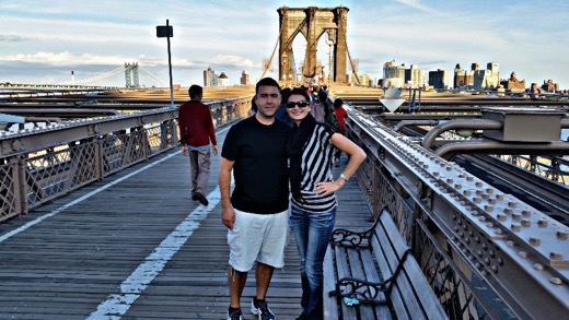 Dave & Angela of The Dang Travelers at the Brooklyn Bridge
