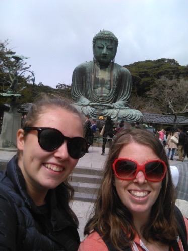 Selfie with the big Buddha near Tokyo, Japan.