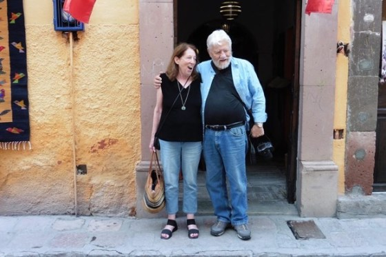 Billie Frank and Steve Collins of Santa Fe Travelers outside Cafe MuRo photo Sandra Kennedy