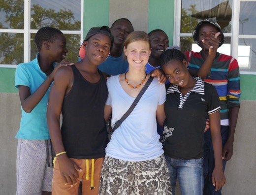 Erika Bisbocci of Erika's Travels and her students in Namibia