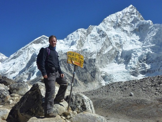 On the way to Everest Base Camp in 2012 with Steve Biggs of BiggsyTravels