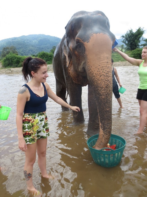 Beth Gregory of International Play Girl bathing an elephant at the Elephant Nature Park in Chiang Mai