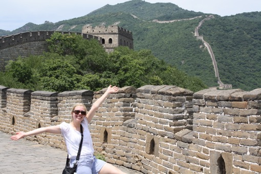 Heather of Ohio Girl Travels at The Great Wall of China