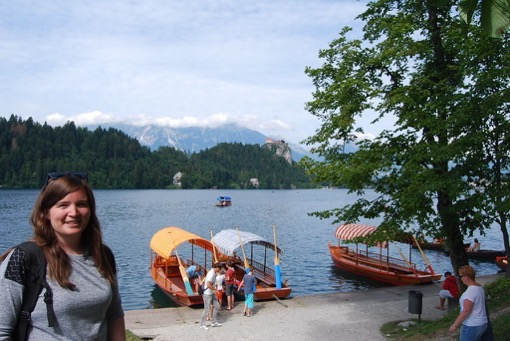 Boat ride in Lake Bled, Slovenia with Frances Atkins of Get Jaunty