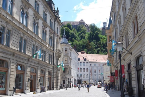 Enroute to the castle in Ljubljana, Slovenia
