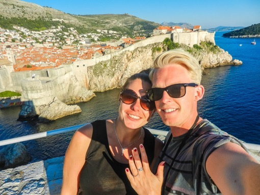 Darren and Shelley from Finding Beyond getting engaged in Dubrovnik, Croatia