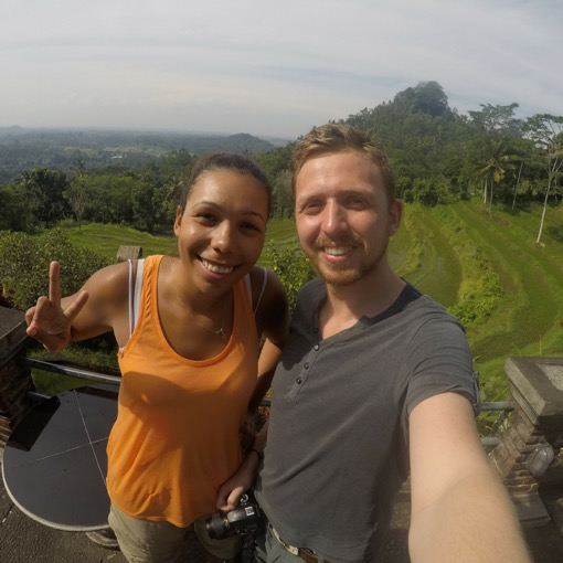 Jade and Kev of TwoTallTravellers at the Rice Fields in Ubud, Bali