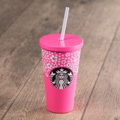 Pink Floral Stainless Steel Cold Cup
