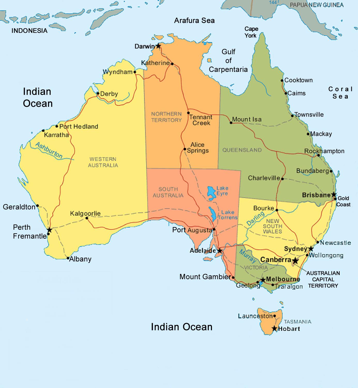 Australia Map   TravelbrochuresTravelbrochures
