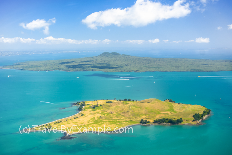 Aerial view of Browns and Rangitoto islands. Hauraki Gulf