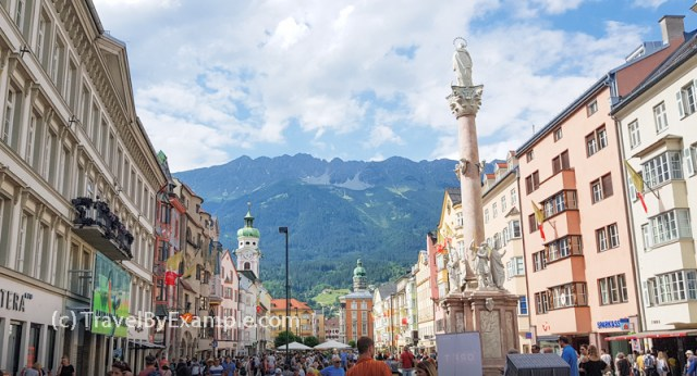 Busy Town Square of Innsbruck