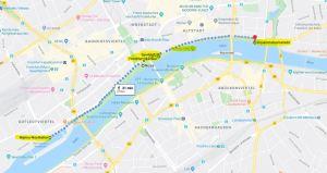 Walk route along riverside parks of Frankfurt