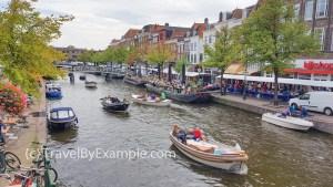 Busy canal in Leiden