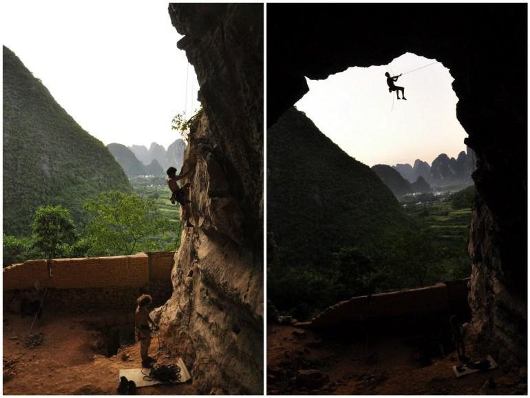 טיפוס במערת התרנגולת (צילום: תום דותן, אוסף פרטי)
