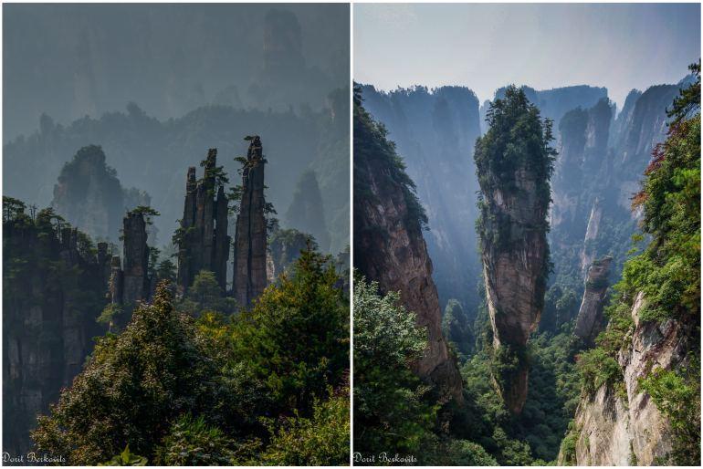 פסגות מחודדות בדז'אנג-ג'יה-ג'יה - מימין: הר הללויה אווטאר (צילום: דורית ברקוביץ)