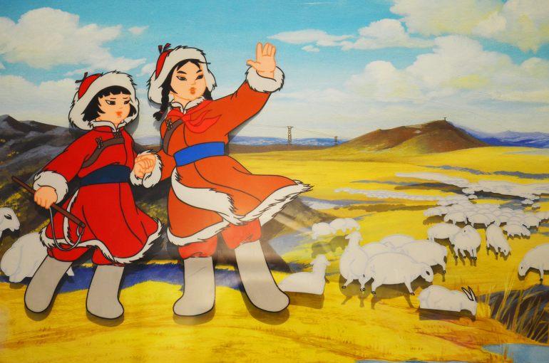 """""""האחיות הגיבורות קאמפו"""" (1965), מתוך תערוכת האנימציה של המוזיאון (צילום: נוגה פייגה)"""