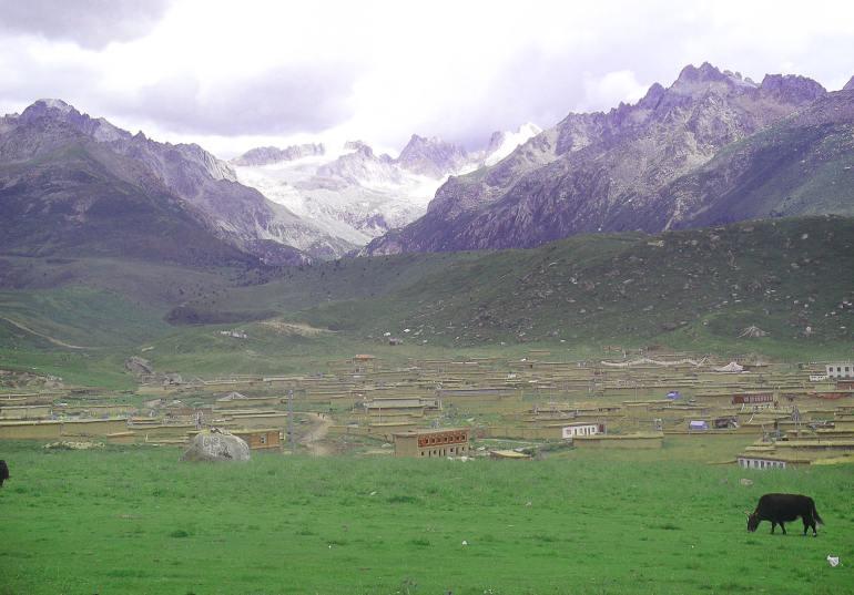 עמק דזוגצ'ן. הכפר מקדימה, המקדשים מסתתרים מאחוריו (צילום: נוגה פייגה)