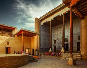 Inner yard of the oriental complex of buildings of Itchan Kala, Khiva, Uzbekistan