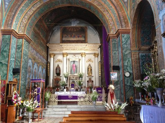 Flowers fill the church at Teotitlán del Valle