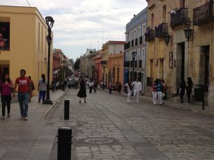 Pedestrianised Alcala - a rare traffic free street in Oaxaca!