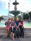 Ladies who lunch in Lisbon. Our attempt at recreating the Friends fountain shot - luckily no umbrellas required!