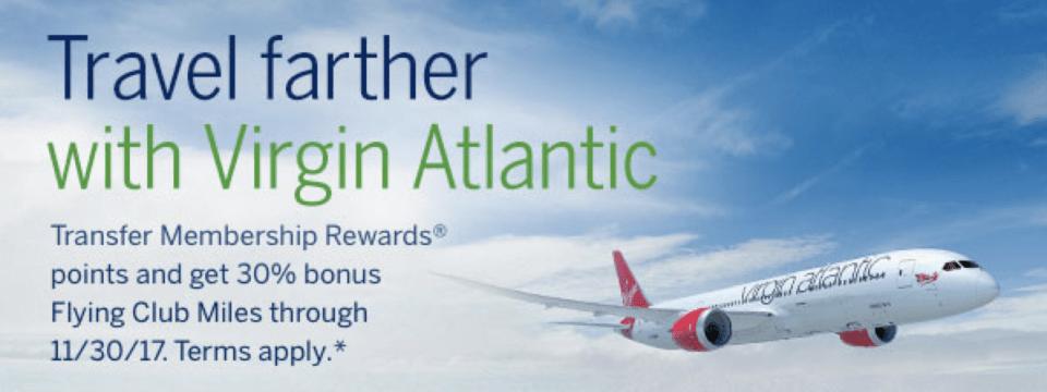 Transfer Membership Rewards to Virgin Atlantic Flying Club with a 30% Bonus - Travel Codex