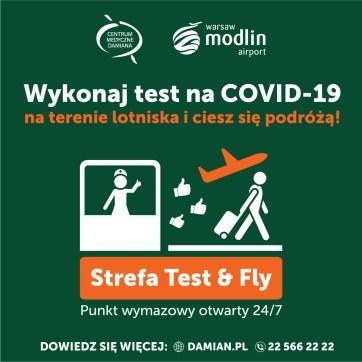 Test na COVID-19 na lotnisku Warszawa-Modlin bezpośrednio przed wylotem