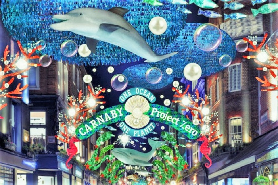 A dolphin and other marine-themed decorations at Carnaby Street in London at Christmas
