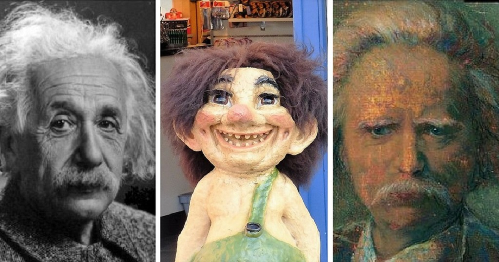 Albert Einstein's resemblance to Edvard Grieg, plus a troll for comparison!