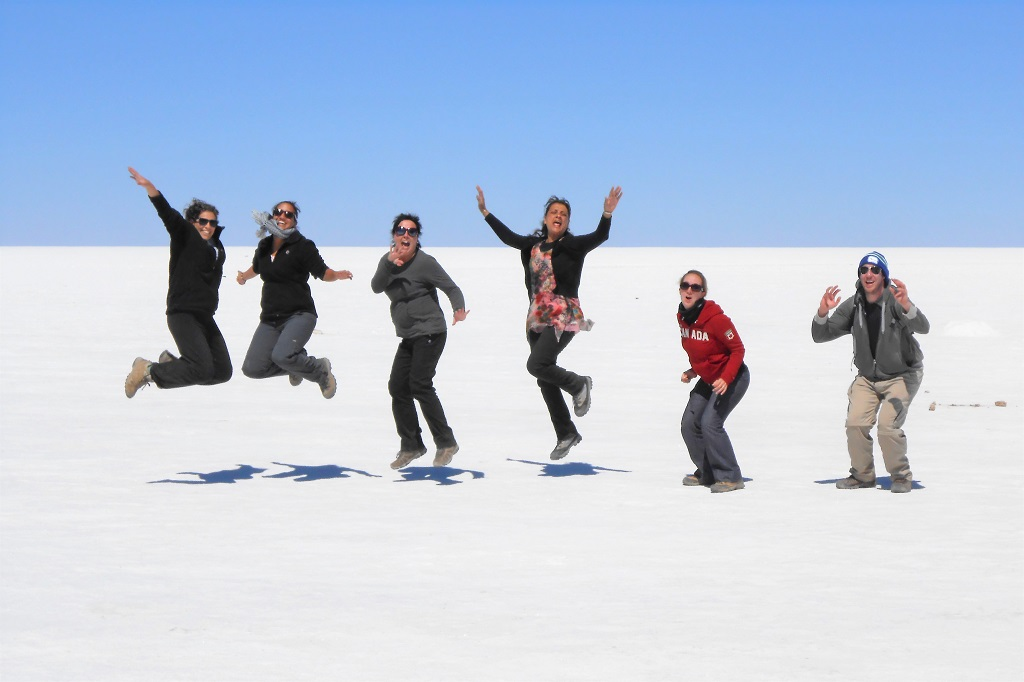 Jumping for joy - photo opportunity on the salt flats