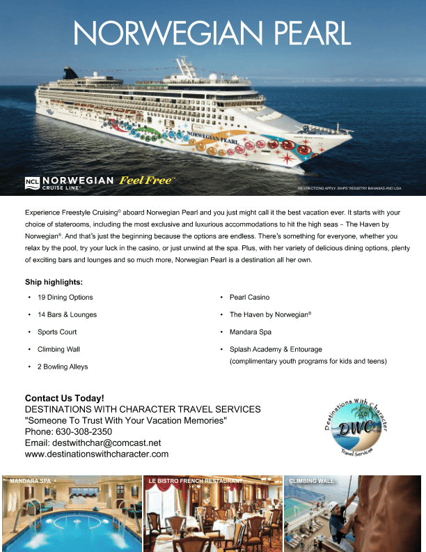 Norwegian Pearl Flyer Destinations With Character Travel