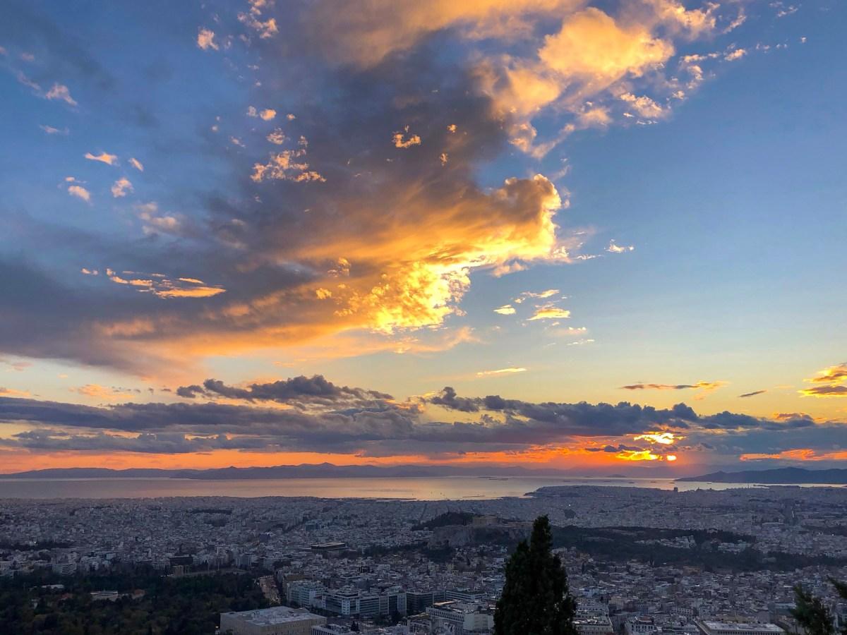 tramonto dal monte Lycabettus, Atene