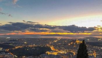 vista di sera dal monte Lycabettus, Atene