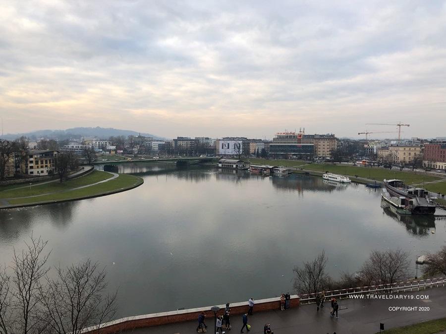 Vista del fiume di Cracovia