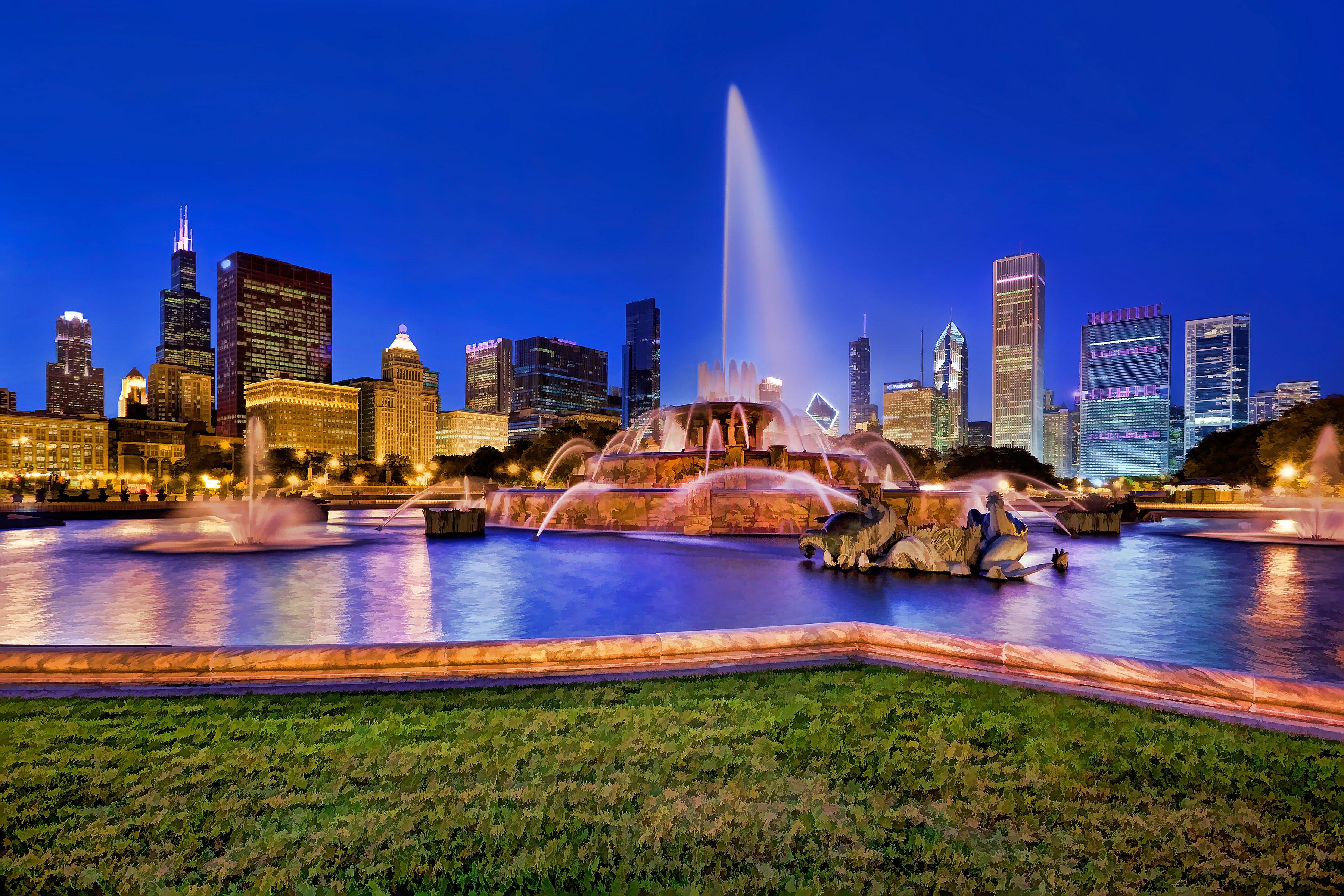 Niagara Falls Night Wallpaper Photos Buckingham Fountain Panorama Chicago Traveldigg Com