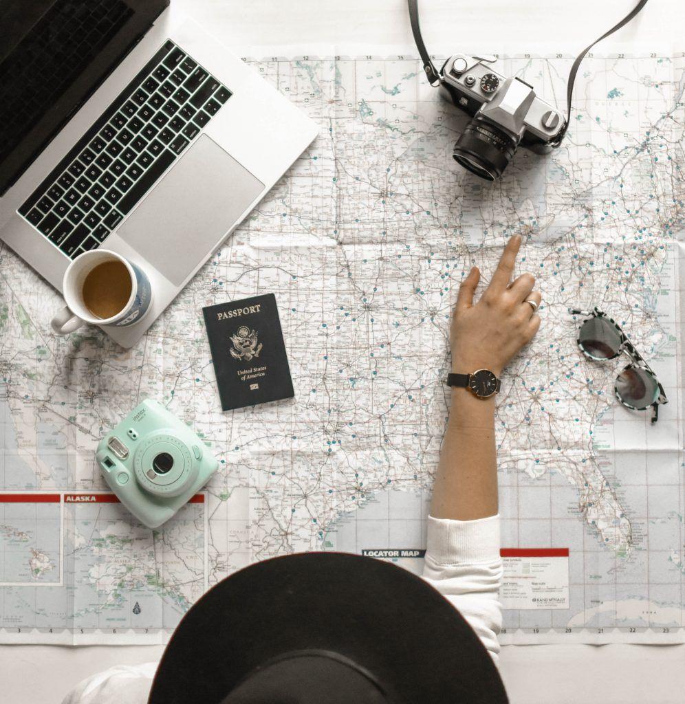 Mapa para viajar con cosas de viajes