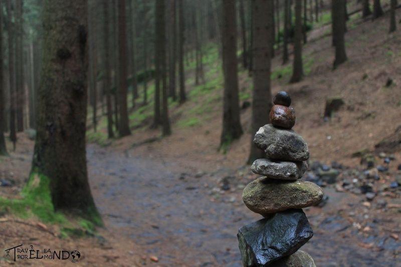 Construcción de piedras en el bosque