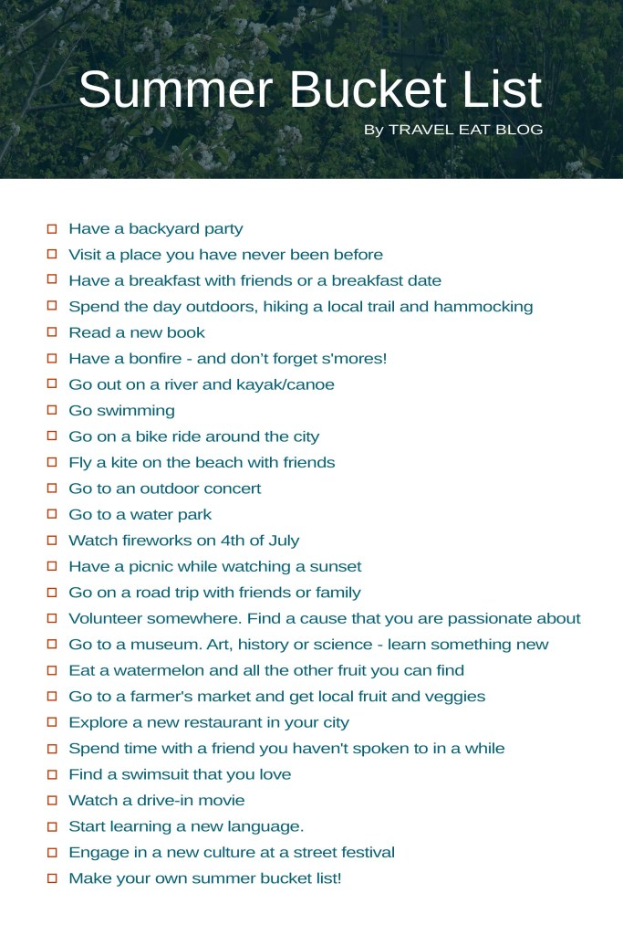 Summer Bucket Checklist