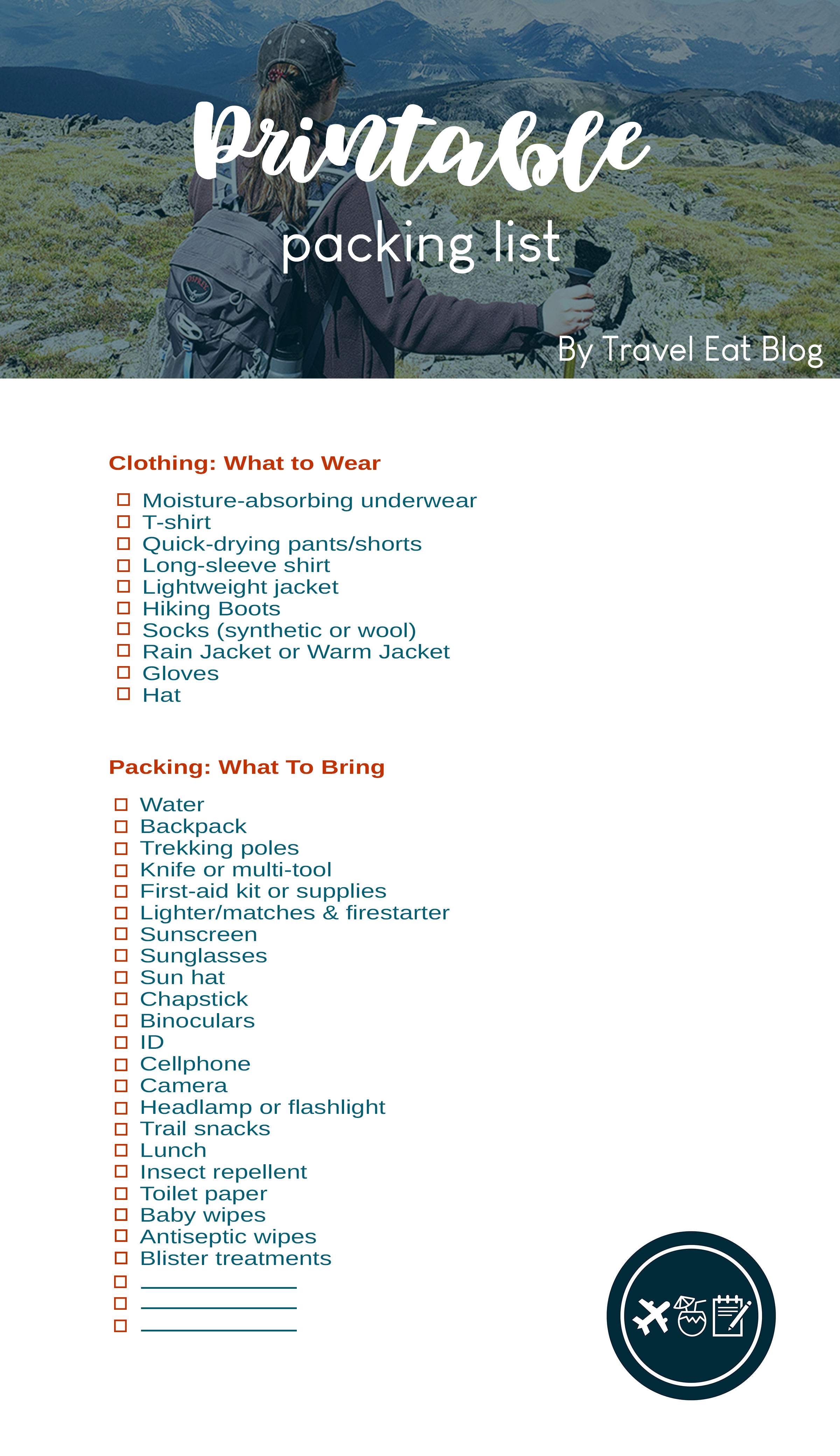 Day Hike Packing List Printable Pdf And Checklist Travel